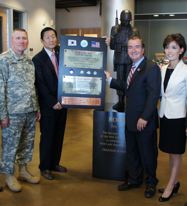 Ed Royce (third from the left), chairman of the House Foreign Affairs Committee; Lawrence Haskins (first), commander of the 4