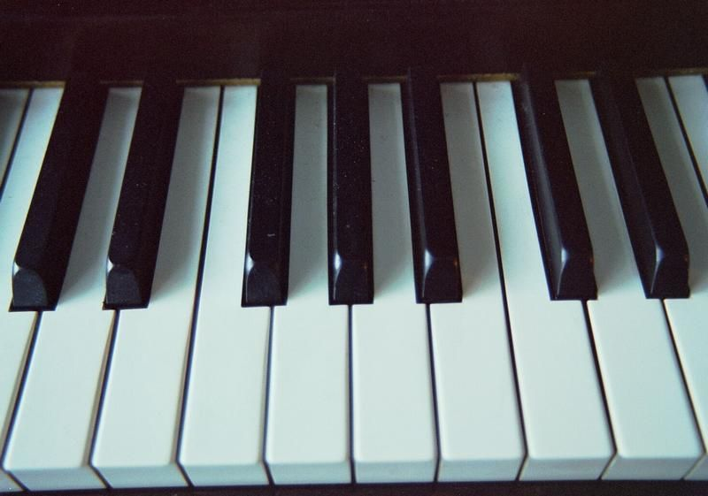 White and black piano keyboard notes