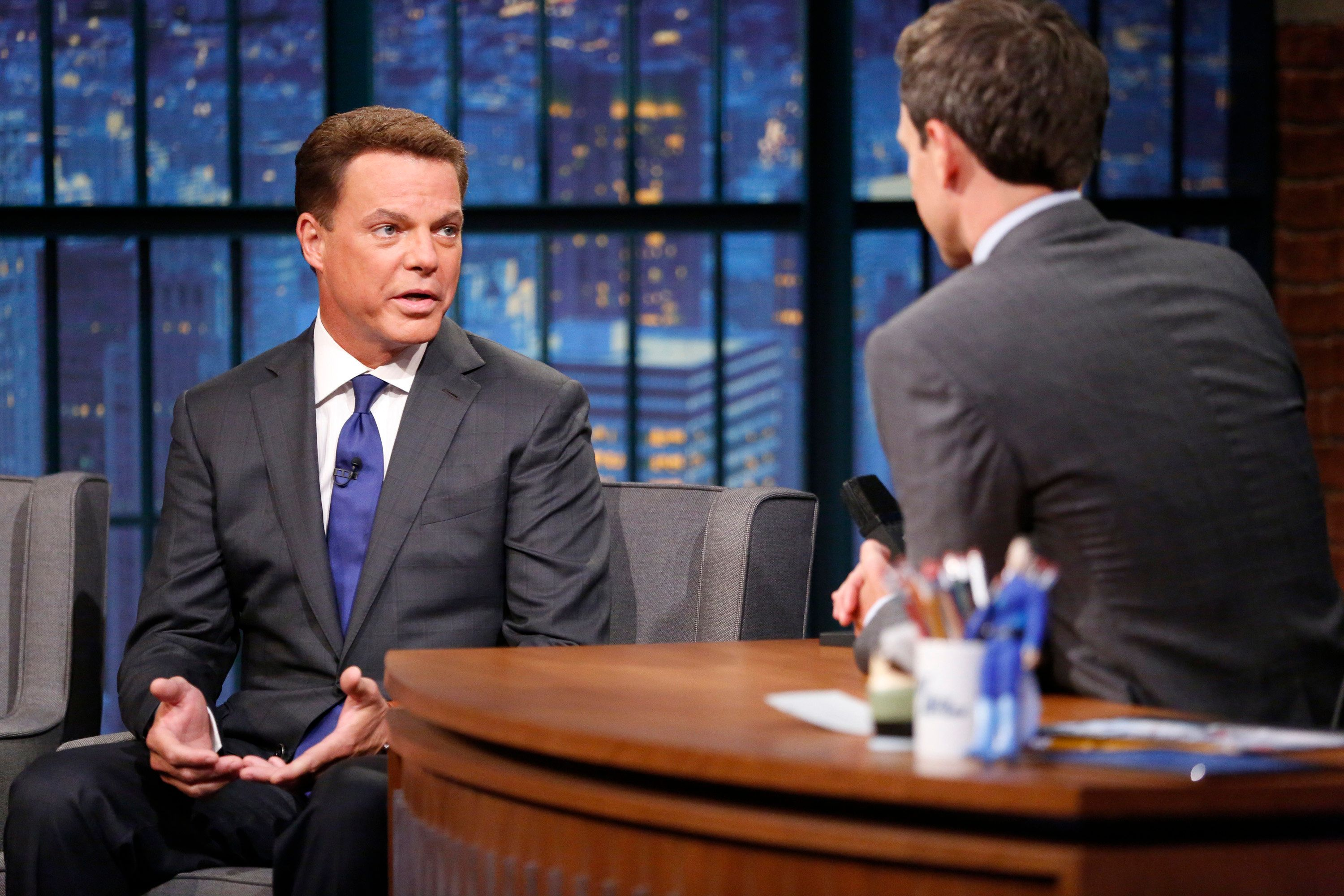 LATE NIGHT WITH SETH MEYERS -- Episode 248 -- Pictured: (l-r) Fox New's Shepard Smith during an interview with host Seth Meyers on August 17, 2015 -- (Photo by: Lloyd Bishop/NBC/NBCU Photo Bank via Getty Images)