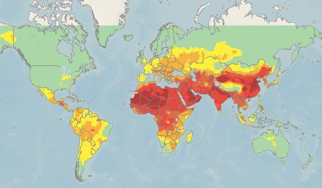 Mapamundi de la OMS del nivel de contaminación. Las zonas en naranja y rojo rondan o superan los límites