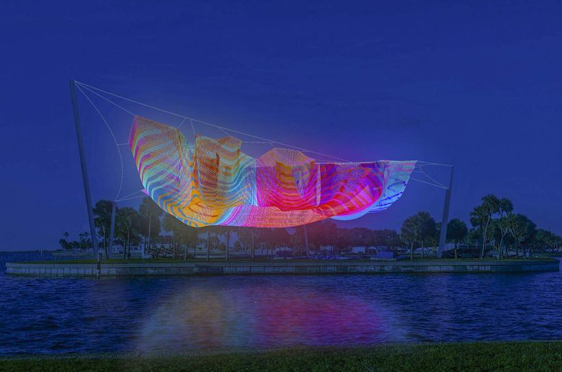 Echelman's proposed sculpture for the St. Petersburg pier.