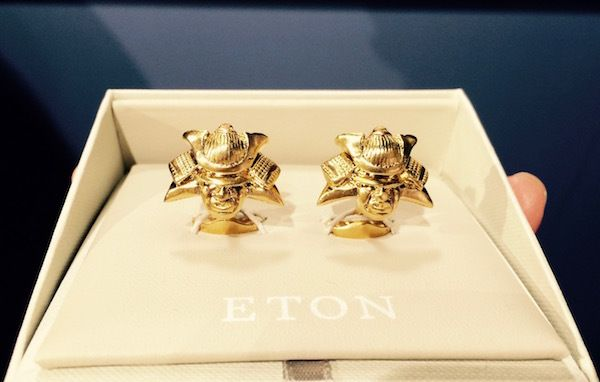 Cufflinks featuring Japanese masks from Eton's Kyoto Anywhere Fall/Winter 2018-19 collection