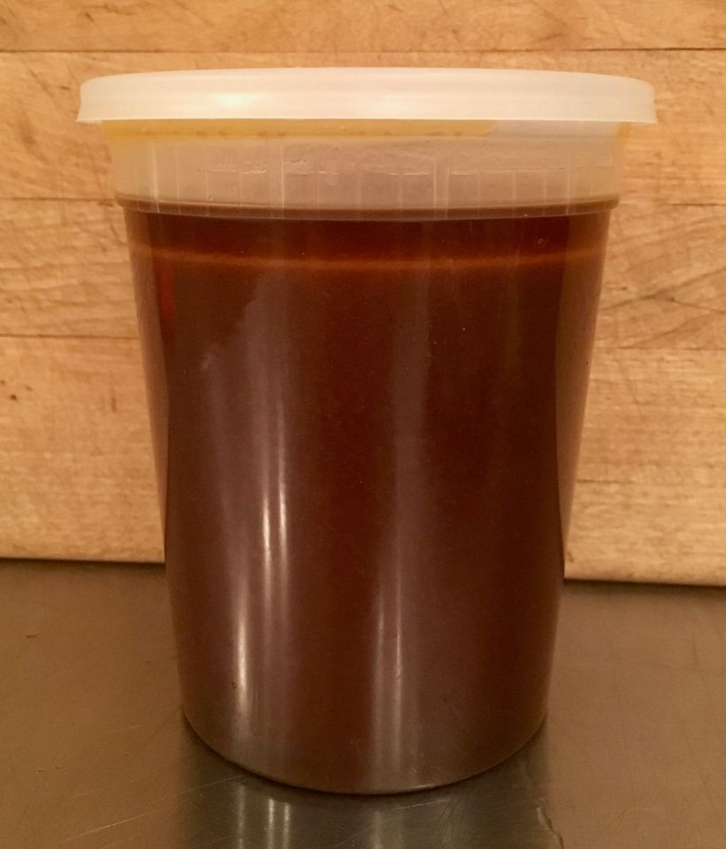 Almost a quart (liter) of sauce; the fat will congeal in the fridge and can then be removed in one piece