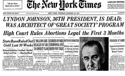 <em>New York Times </em>headline on January 23, 1973