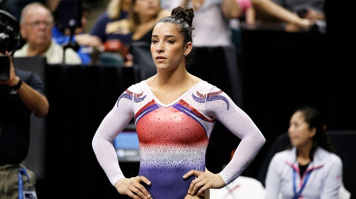 Raisman competing in the women's final of the 2015 P&G Gymnastics Championships.