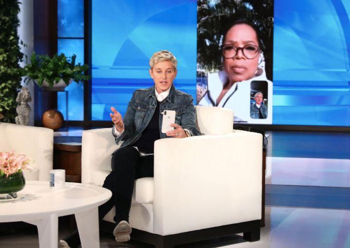 Ellen DeGeneres calls Oprah Winfrey on her daytime talk show.