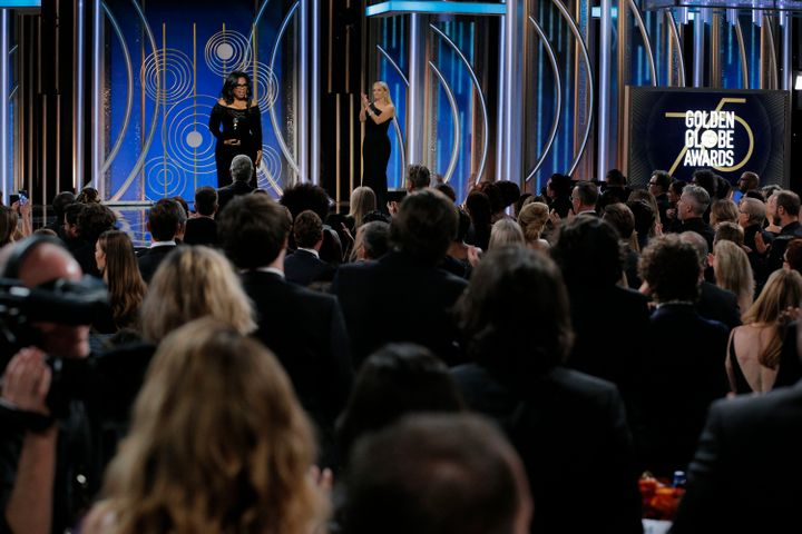 Oprah Winfrey accepts the 2018 Cecil B. DeMille Award during the 75th Annual Golden Globe Awards on Sunday.