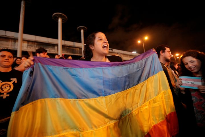 People celebrate after the Inter-American Court of Human Rights called on Costa Rica and Latin America to recognize equal mar