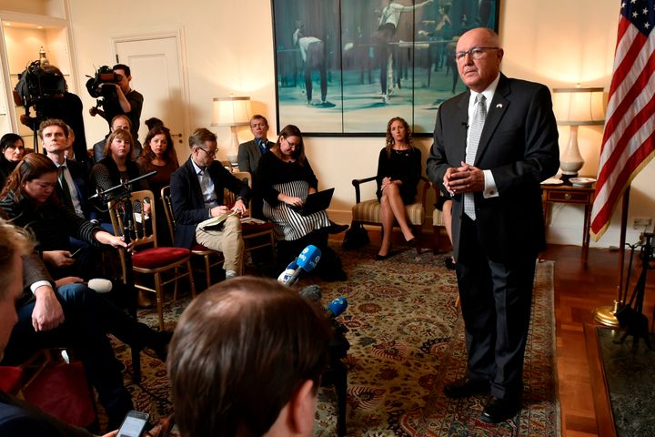 U.S. Ambassador to the Netherlands Peter Hoekstra is questioned during a news conference at the U.S. Embassy in The