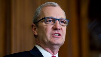 UNITED STATES - FEBRUARY 13: Rep. Kevin Cramer, R-N.D., speaks during a bill signing ceremony for the Keystone XL Pipeline Approval Act in the Capitol's Rayburn Room, February 13, 2015. (Photo By Tom Williams/CQ Roll Call)