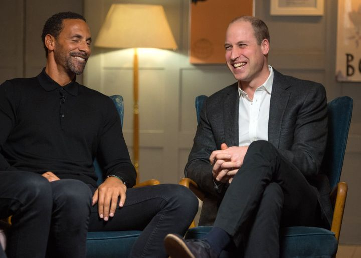 "Prince William (pictured with former English soccer star Rio Ferdinand) joked that his brother's not asking him to be best man yet may be ""a sensitive subject."""
