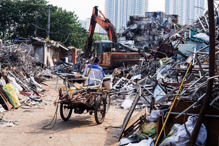 An informal recycling center in Shanghai.