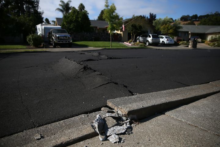 Buckled asphalt in Napa, California, after a 6.0 earthquake struck the region in 2014.