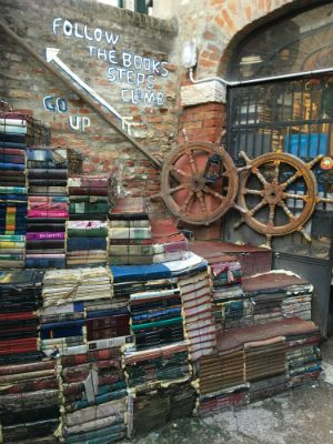 The Book Steps at Libreria Acqua Alta in Venice, Italy