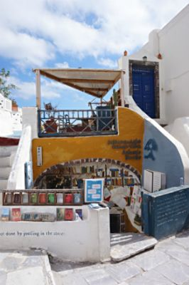 Exterior of Atlantis Books in Oia, Greece