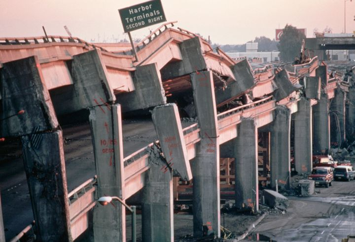 The remains of the Cypress Freeway in Oakland, California, after the Bay Area's 1989 earthquake.