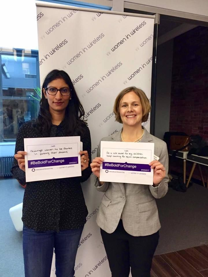 Farzana Nasser (left), co-president of Women In Wireless, with Jessica Ozrek, co-chair of  WIW Global Talent team.