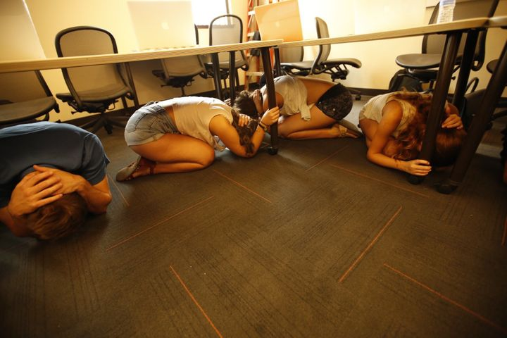 University of Southern California cinema students participate in a 2015 earthquake drill.