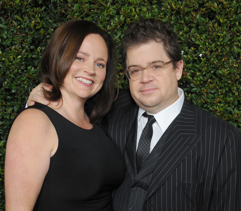 Michelle McNamara and her husband, Patton Oswalt, in December 2011. McNamara died in her sleep on April...