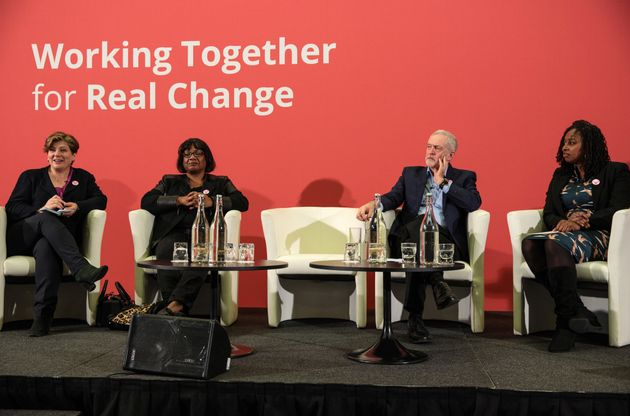 Jeremy Corbyn with Dawn Butler (right), Emily Thornberry (far left) and Diane