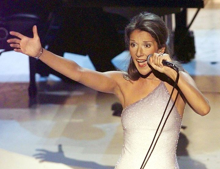 Celine Dion at the Grammys in 1998.