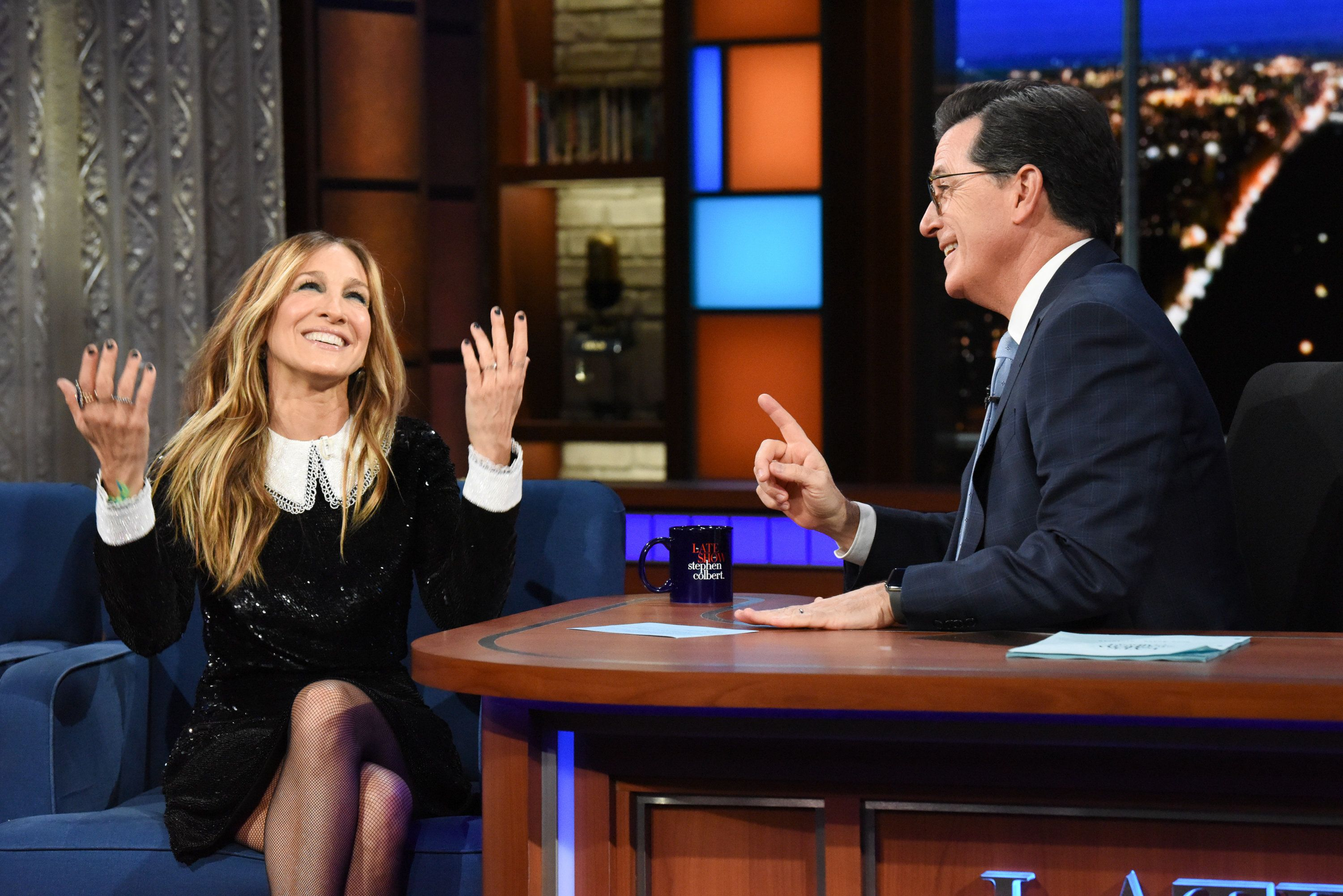 "Sarah Jessica Parker dishes to Stephen Colbert about ""Sex and the City 3."""