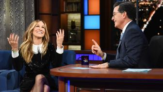 NEW YORK - JANUARY 10: The Late Show with Stephen Colbert with guest Sarah Jessica Parker during Wednesday's January 10, 2018 show. (Photo by Scott Kowalchyk/CBS via Getty Images)