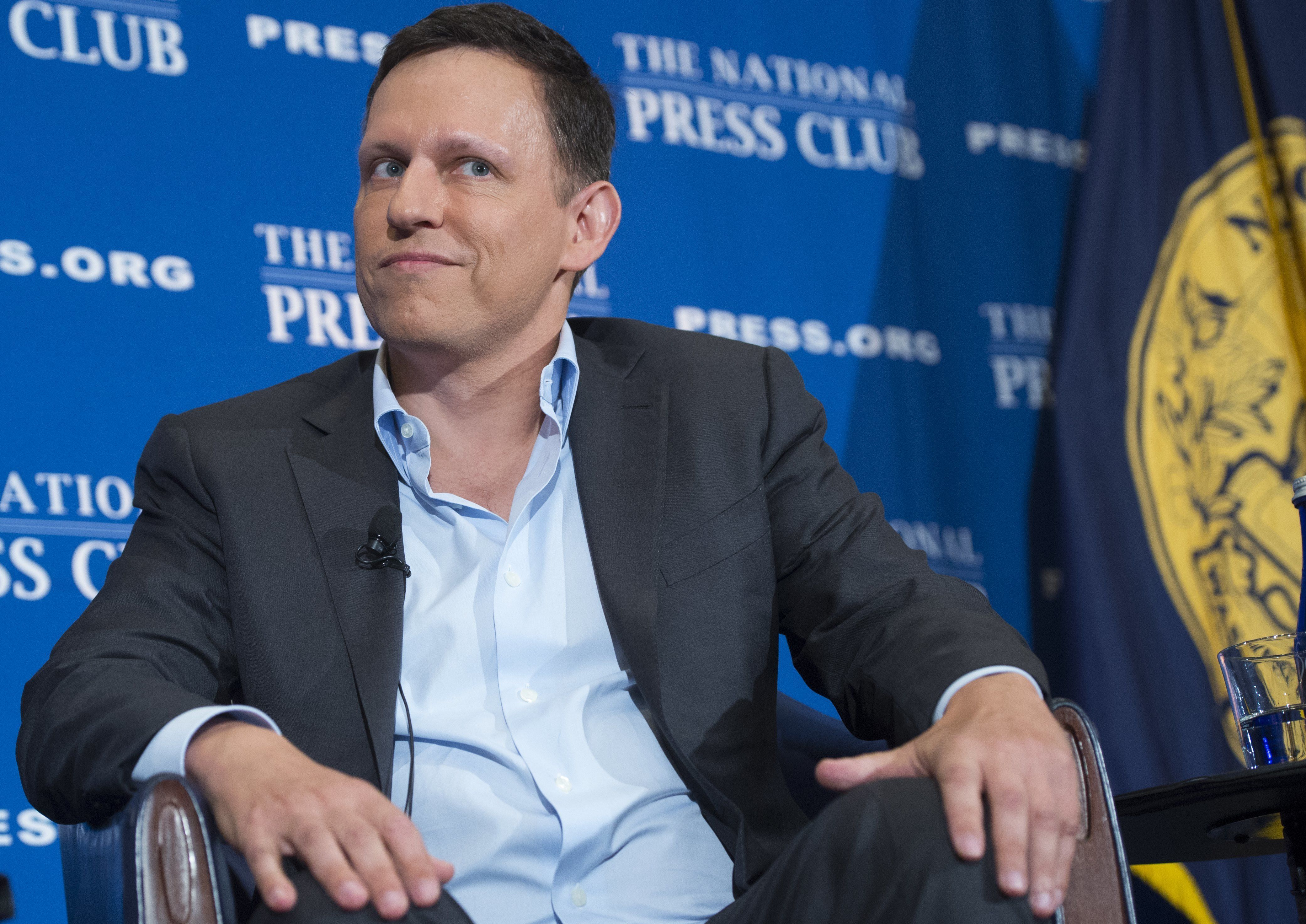 Peter Thiel discusses his support for Republican presidential nominee Donald Trump at the National Press Club in Washington,