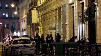 Police stand in rue Cambon at the back entrance of the Ritz luxury hotel in Paris on January 10, 2018, after an armed robbery. Armed robbers made off with millions of euros worth of jewellery after smashing the windows of the world-famous Ritz hotel in Paris on January 10, police said, adding that three suspects had been detained. / AFP PHOTO / Thomas SAMSON        (Photo credit should read THOMAS SAMSON/AFP/Getty Images)