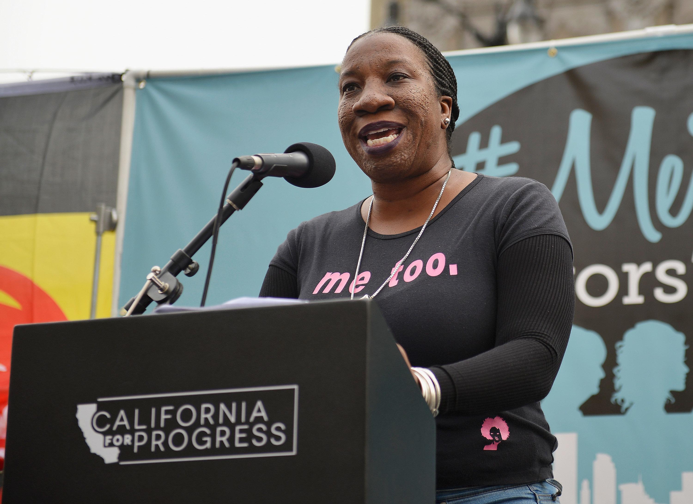 HOLLYWOOD, CA - NOVEMBER 12:  Activist Tarana Burke speaks at the #MeToo Survivors March & Rally on November 12, 2017 in Hollywood, California.  (Photo by Chelsea Guglielmino/FilmMagic)