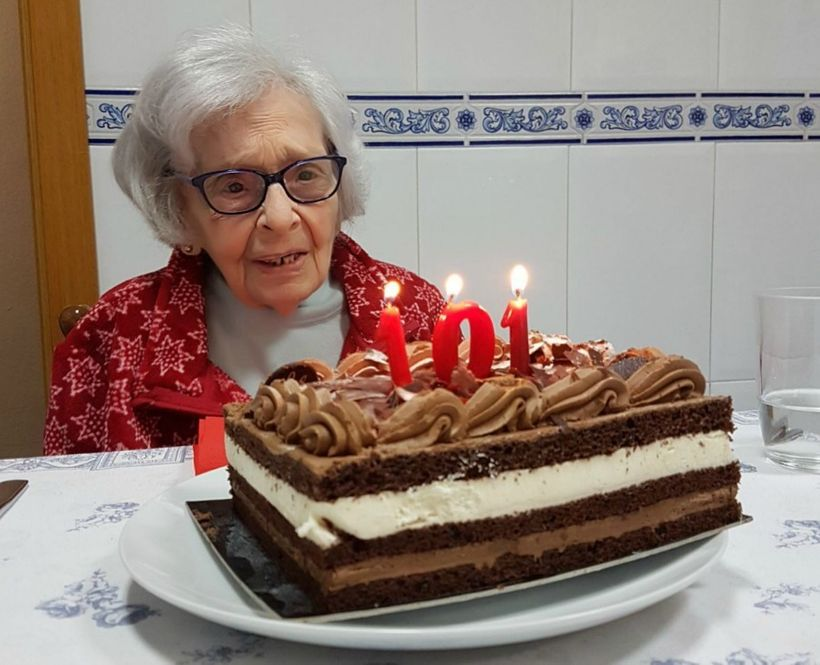 My abuelita ready to blow out the candles