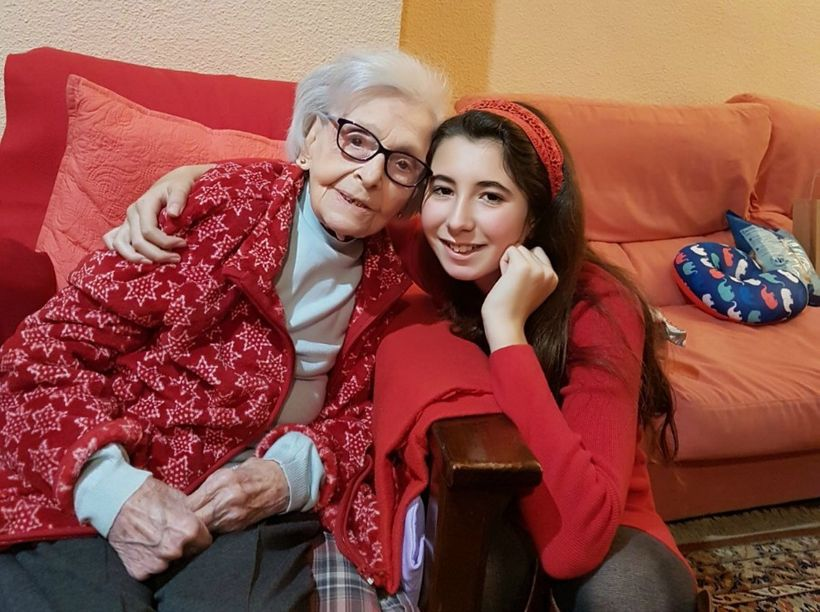<em>Abuelita Vicenta with my 10-year old niece Hanna </em>