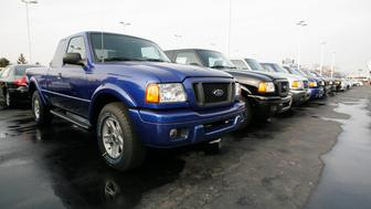 UNITED STATES - JANUARY 20:  Ford Ranger pickup trucks are seen at a dealership in northwest Detroit, Friday, January 20, 2006. Ford Motor Co. will eliminate 25,000 or more jobs in the next four years as the world's third-biggest automaker seeks to stem North American losses, according to people familiar with the reorganization.  (Photo by George Waldman/Bloomberg via Getty Images)