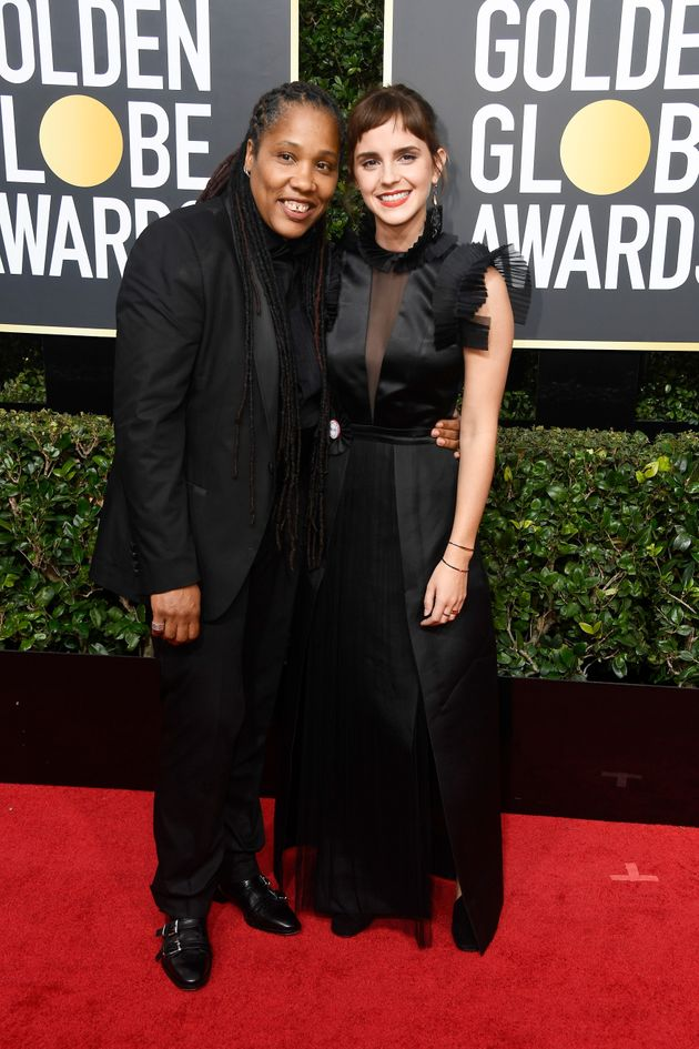 Emma wore black in support of the Time's Up movement at the Golden Globes, attending with activistMarai