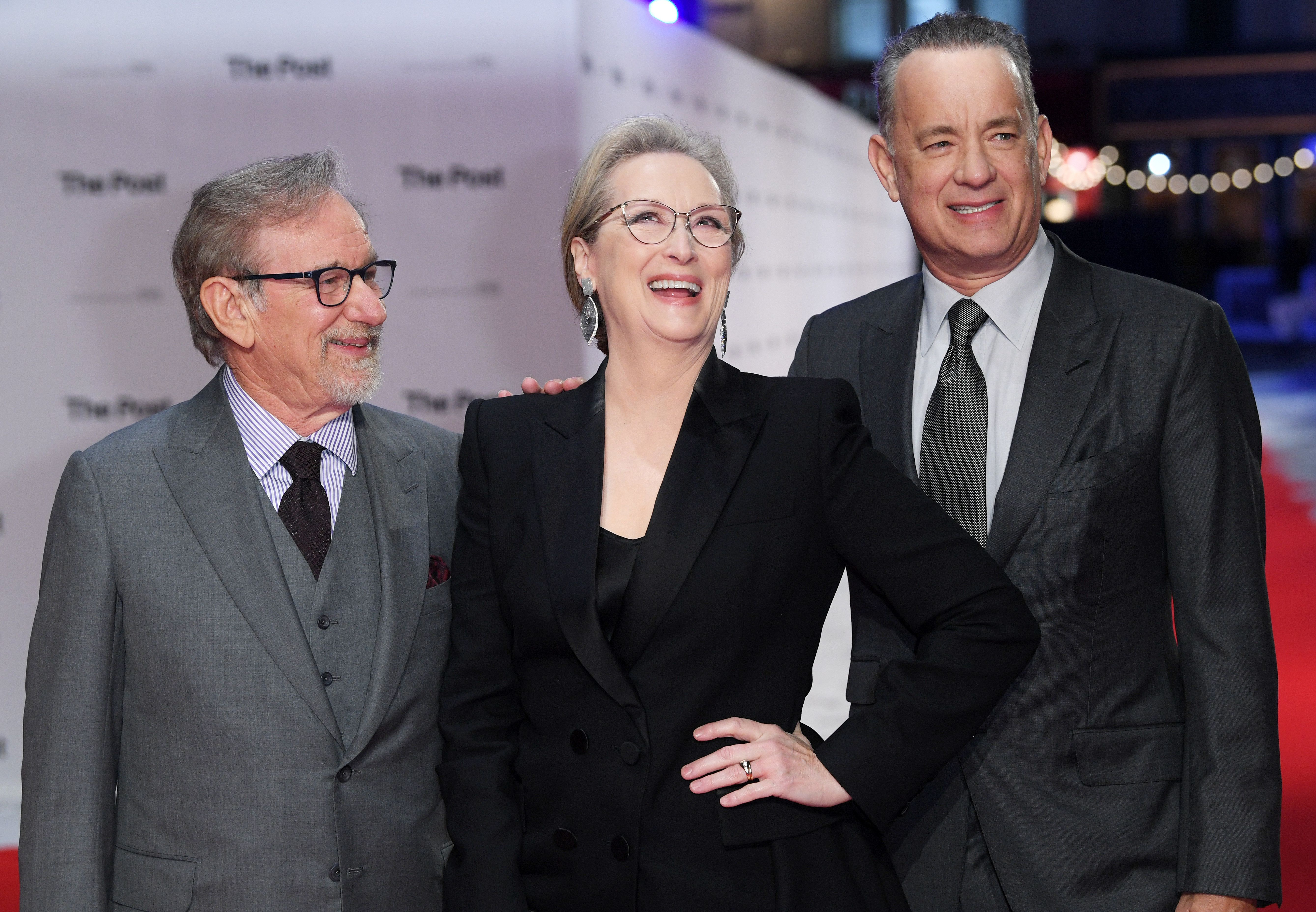 <strong>The trio at the film's premiere, the night before the press conference</strong>