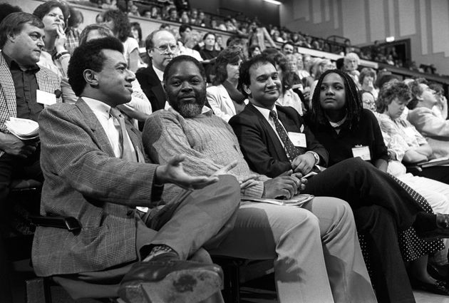 Paul Boateng, Bernie Grant, Keith Vaz and Diane Abbott during a Black Sections debate at party