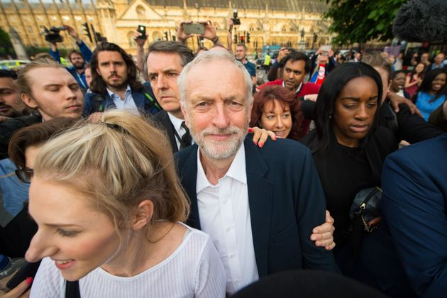 Jeremy Corbyn at a Momentum rally in Parliament Square at the height of the Labour 'coup' attempt in