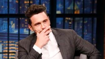 LATE NIGHT WITH SETH MEYERS -- Episode 632 -- Pictured: (l-r) Actor James Franco talks with host Seth Meyers during an interview on January 10, 2017 -- (Photo by: Lloyd Bishop/NBC/NBCU Photo Bank via Getty Images)