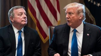 WASHINGTON, DC - JANUARY 9:  Sen. Dick Durbin, D-Ill., and President Donald Trump speak during a meeting with lawmakers on immigration policy in the Cabinet Room at the White House in Washington, DC on Tuesday, Jan. 09, 2018. (Photo by Jabin Botsford/The Washington Post via Getty Images)