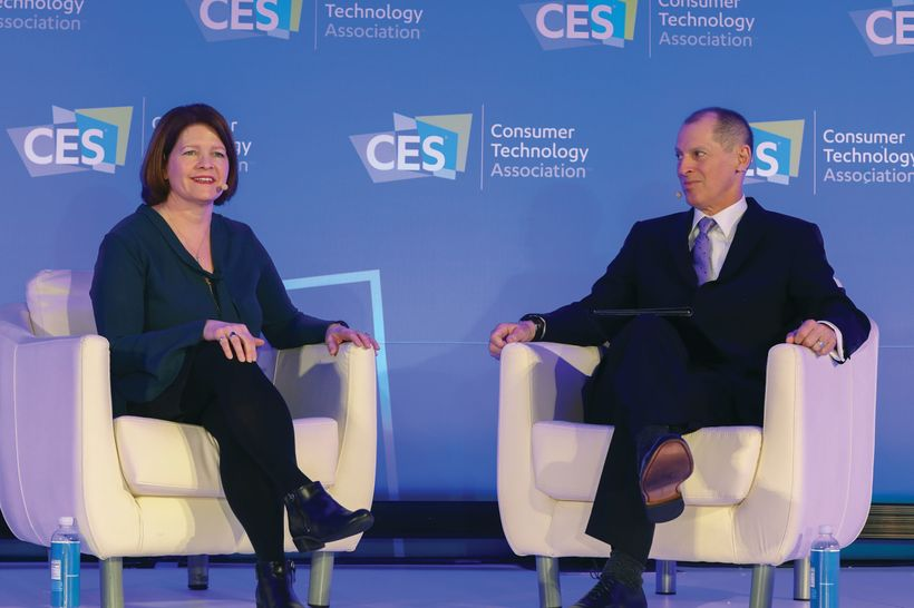 Acting FTC chair Maureen Ohlhausen discusses net neutrality with CTA president and CEO Gary Shapiro at CES. FCC chair Ajit Pa