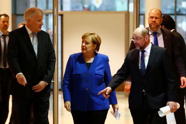 Die drei von der GroKo: Horst Seehofer, Angela Merkel und Martin
