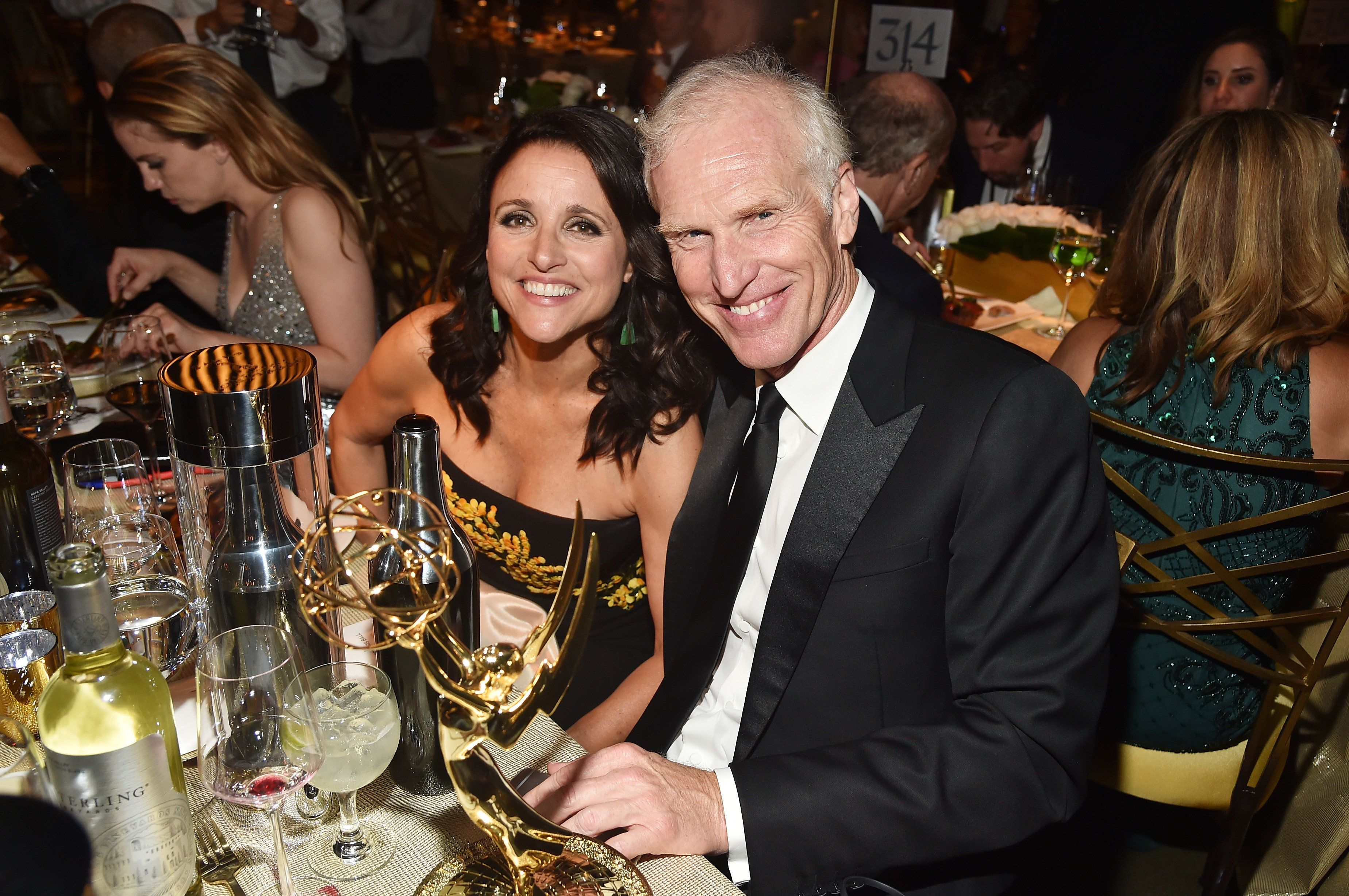 LOS ANGELES, CA - SEPTEMBER 17:  Actor Julia Louis-Dreyfus, winner of the awards for Outstanding Comedy Series and Outstanding Lead Actress in a Comedy Series for 'Veep,' and Brad Hall attends the 69th Annual Primetime Emmy Awards Governors Ball on September 17, 2017 in Los Angeles, California.  (Photo by Alberto E. Rodriguez/Getty Images)