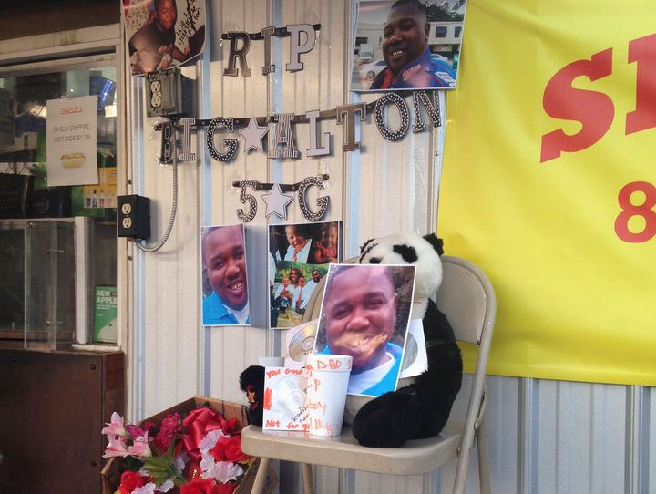 An impromptu memorial that was set up in July 2016 at the scene of Alton Sterling's fatal shooting.