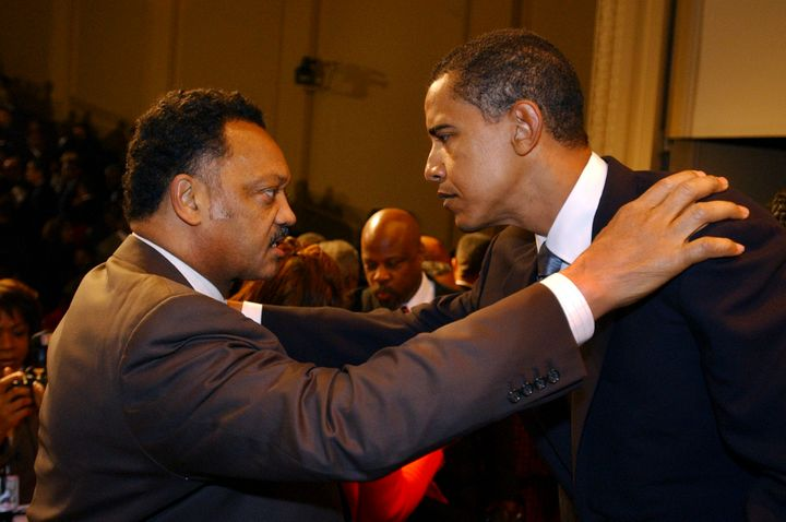 Jesse Jackson with then-Sen. Barack Obama (D-Ill.) as the 109th Congress is sworn in on Jan. 4, 2005.