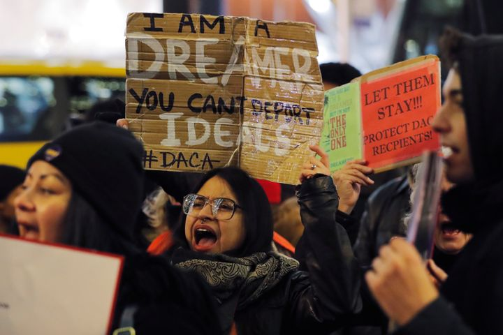 Deferred Action for Childhood Arrivals recipient Gloria Mendoza participates in a protest in support of a standalone Dream Ac
