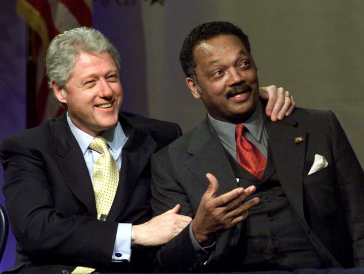 President Bill Clinton embraces Jesse Jackson at a Rainbow/Push Coalition event in New York City in 2000.