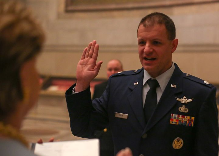 <p> Lieutenant Colonel Bryan (Bree) Fram is an active duty astronautical engineer and transgender service member in the US Air Force promoted at the National Archives and reaffirming his oath administered by Congresswoman Madeleine Bordallo (D-GU), in front of the U.S. Constitution. </p>