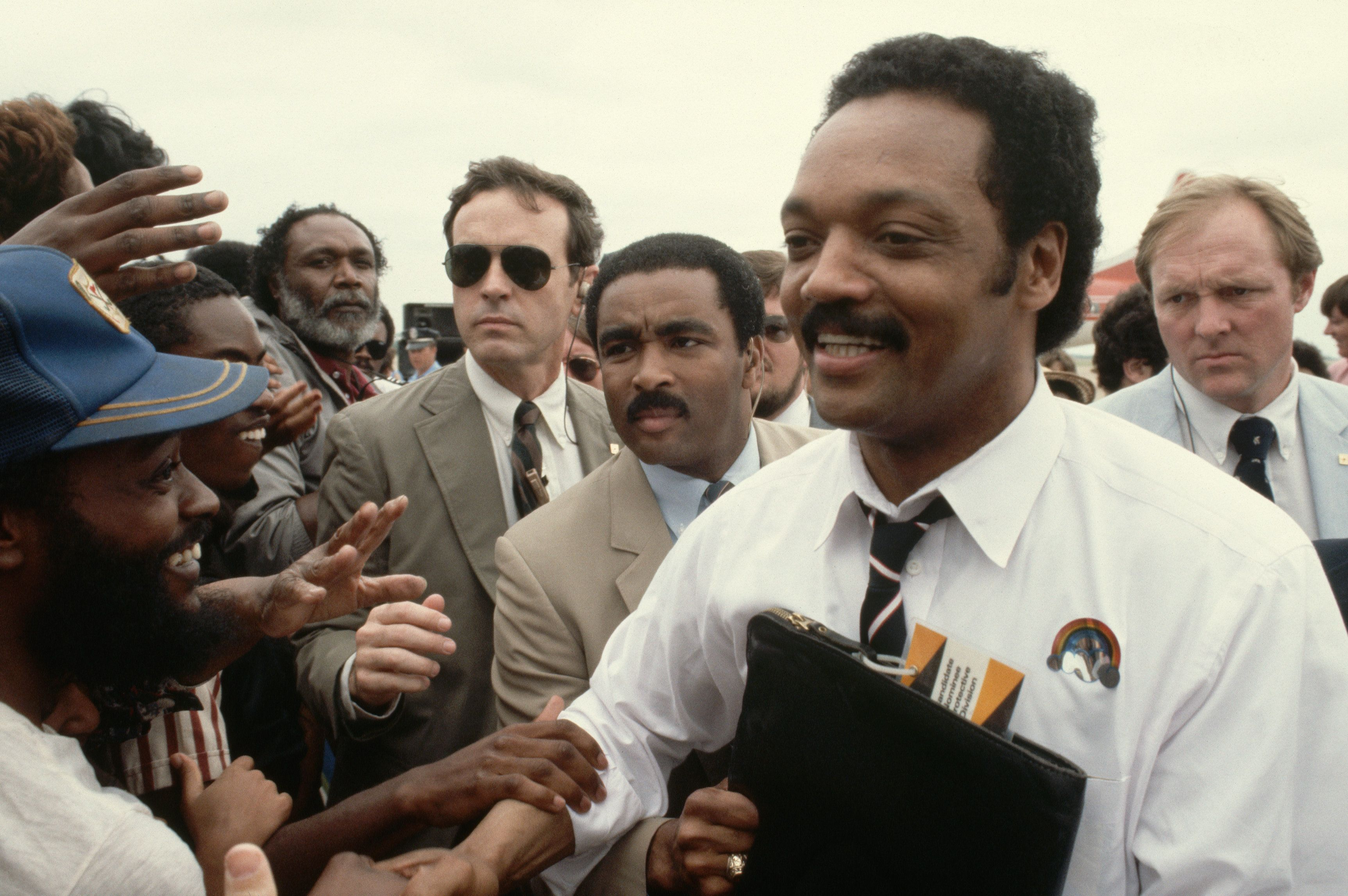 Jesse Jackson campaigns for president in 1984 at a stop in Texas.