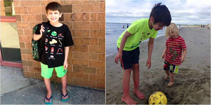 a split picture: the left side, sebastian getting ready for school, the right side, sebastian at the beach with a ball