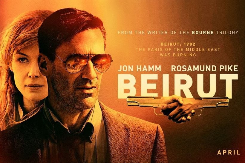 "Jon Hamm and Rosamund Pike in a new promotional image for their movie ""Beirut"""